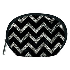 Chevron9 Black Marble & Silver Foil (r) Accessory Pouches (medium)  by trendistuff