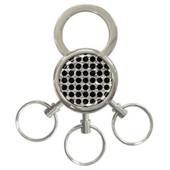 Circles1 Black Marble & Silver Foil 3 Ring Key Chains by trendistuff