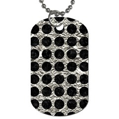 Circles1 Black Marble & Silver Foil Dog Tag (one Side) by trendistuff