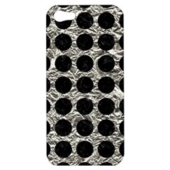 Circles1 Black Marble & Silver Foil Apple Iphone 5 Hardshell Case