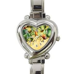 Wonderful Flowers With Butterflies, Colorful Design Heart Italian Charm Watch by FantasyWorld7