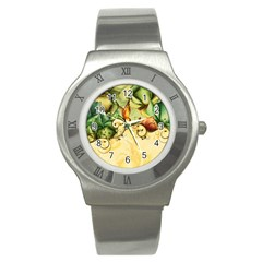 Wonderful Flowers With Butterflies, Colorful Design Stainless Steel Watch by FantasyWorld7