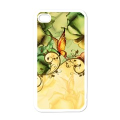 Wonderful Flowers With Butterflies, Colorful Design Apple Iphone 4 Case (white) by FantasyWorld7