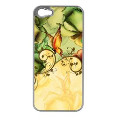 Wonderful Flowers With Butterflies, Colorful Design Apple Iphone 5 Case (silver) by FantasyWorld7