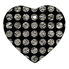 Circles1 Black Marble & Silver Foil (r) Heart Ornament (two Sides) by trendistuff