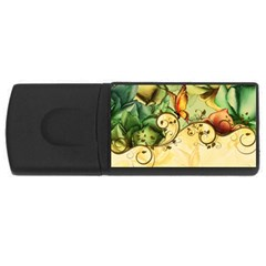 Wonderful Flowers With Butterflies, Colorful Design Rectangular Usb Flash Drive by FantasyWorld7