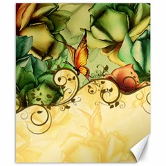Wonderful Flowers With Butterflies, Colorful Design Canvas 8  X 10  by FantasyWorld7