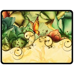 Wonderful Flowers With Butterflies, Colorful Design Double Sided Fleece Blanket (large)  by FantasyWorld7