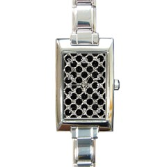 Circles2 Black Marble & Silver Foil Rectangle Italian Charm Watch by trendistuff