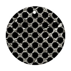 Circles2 Black Marble & Silver Foil Round Ornament (two Sides) by trendistuff