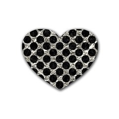 Circles2 Black Marble & Silver Foil Rubber Coaster (heart)  by trendistuff