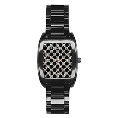 Circles2 Black Marble & Silver Foil Stainless Steel Barrel Watch by trendistuff