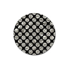 Circles2 Black Marble & Silver Foil (r) Magnet 3  (round) by trendistuff