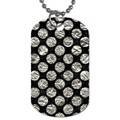 Circles2 Black Marble & Silver Foil (r) Dog Tag (two Sides) by trendistuff