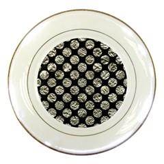Circles2 Black Marble & Silver Foil (r) Porcelain Plates by trendistuff