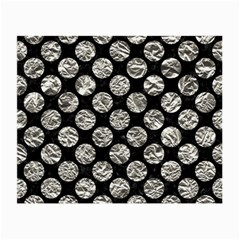 Circles2 Black Marble & Silver Foil (r) Small Glasses Cloth (2 Side) by trendistuff