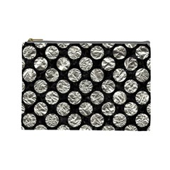 Circles2 Black Marble & Silver Foil (r) Cosmetic Bag (large)  by trendistuff