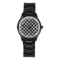Circles2 Black Marble & Silver Foil (r) Stainless Steel Round Watch by trendistuff