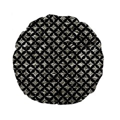 Circles3 Black Marble & Silver Foil Standard 15  Premium Flano Round Cushions by trendistuff
