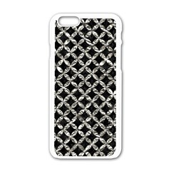 Circles3 Black Marble & Silver Foil (r) Apple Iphone 6/6s White Enamel Case by trendistuff