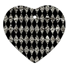 Diamond1 Black Marble & Silver Foil Ornament (heart) by trendistuff