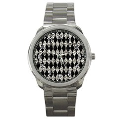 Diamond1 Black Marble & Silver Foil Sport Metal Watch by trendistuff