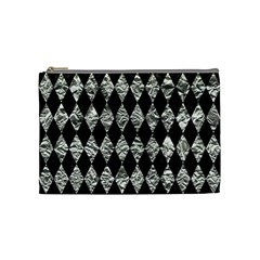 Diamond1 Black Marble & Silver Foil Cosmetic Bag (medium)  by trendistuff