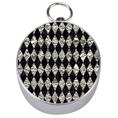 Diamond1 Black Marble & Silver Foil Silver Compasses by trendistuff