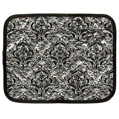Damask1 Black Marble & Silver Foil Netbook Case (xxl)