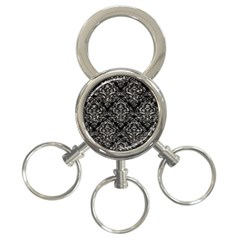 Damask1 Black Marble & Silver Foil (r) 3 Ring Key Chains by trendistuff