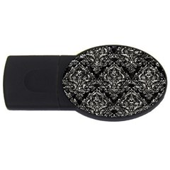 Damask1 Black Marble & Silver Foil (r) Usb Flash Drive Oval (2 Gb) by trendistuff