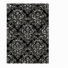 Damask1 Black Marble & Silver Foil (r) Large Garden Flag (two Sides) by trendistuff