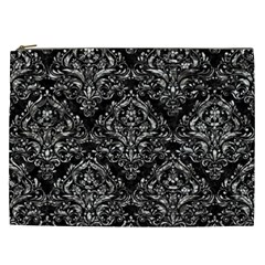 Damask1 Black Marble & Silver Foil (r) Cosmetic Bag (xxl)  by trendistuff
