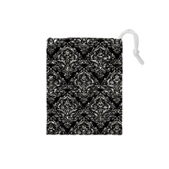 Damask1 Black Marble & Silver Foil (r) Drawstring Pouches (small)  by trendistuff