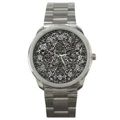 Damask2 Black Marble & Silver Foil Sport Metal Watch by trendistuff