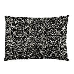 Damask2 Black Marble & Silver Foil Pillow Case by trendistuff