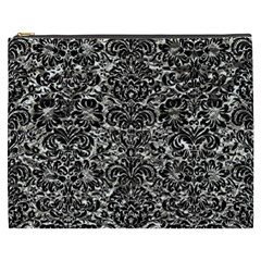 Damask2 Black Marble & Silver Foil Cosmetic Bag (xxxl)  by trendistuff