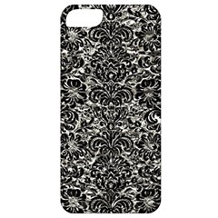Damask2 Black Marble & Silver Foil Apple Iphone 5 Classic Hardshell Case
