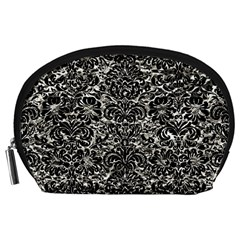 Damask2 Black Marble & Silver Foil Accessory Pouches (large)  by trendistuff