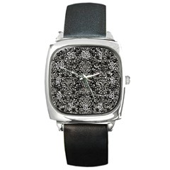 Damask2 Black Marble & Silver Foil (r) Square Metal Watch by trendistuff