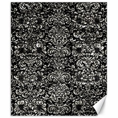 Damask2 Black Marble & Silver Foil (r) Canvas 20  X 24   by trendistuff