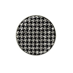 Houndstooth1 Black Marble & Silver Foil Hat Clip Ball Marker (10 Pack) by trendistuff