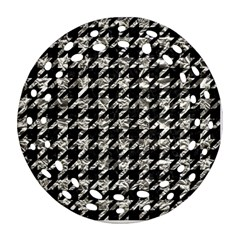 Houndstooth1 Black Marble & Silver Foil Round Filigree Ornament (two Sides) by trendistuff