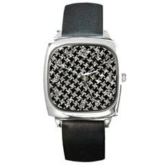 Houndstooth2 Black Marble & Silver Foil Square Metal Watch by trendistuff