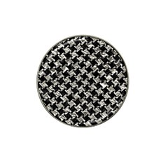 Houndstooth2 Black Marble & Silver Foil Hat Clip Ball Marker (10 Pack) by trendistuff