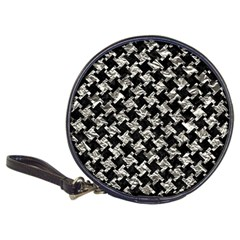 Houndstooth2 Black Marble & Silver Foil Classic 20 Cd Wallets by trendistuff