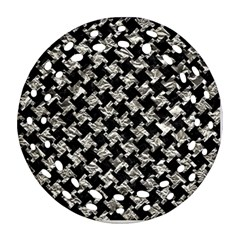 Houndstooth2 Black Marble & Silver Foil Ornament (round Filigree) by trendistuff