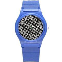 Houndstooth2 Black Marble & Silver Foil Round Plastic Sport Watch (s) by trendistuff