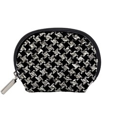 Houndstooth2 Black Marble & Silver Foil Accessory Pouches (small)  by trendistuff