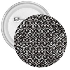 Hexagon1 Black Marble & Silver Foil 3  Buttons by trendistuff
